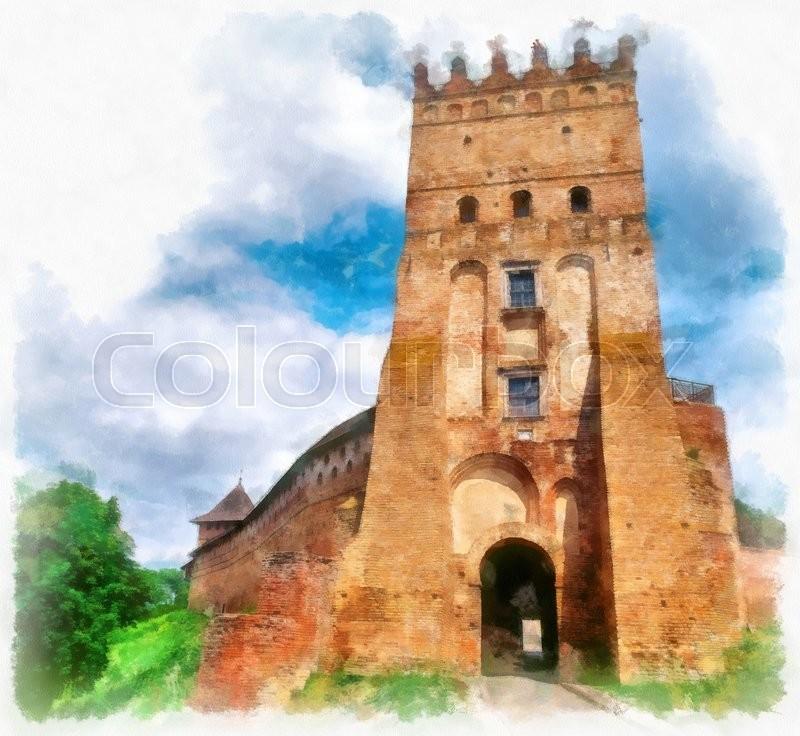 800x736 Medieval Castle In Lutsk, Ukraine. Digital Art. Digital Imitation
