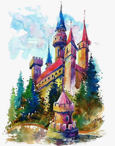 393x500 Watercolor Color Castle, Watercolor Clipart, Color Clipart, Castle