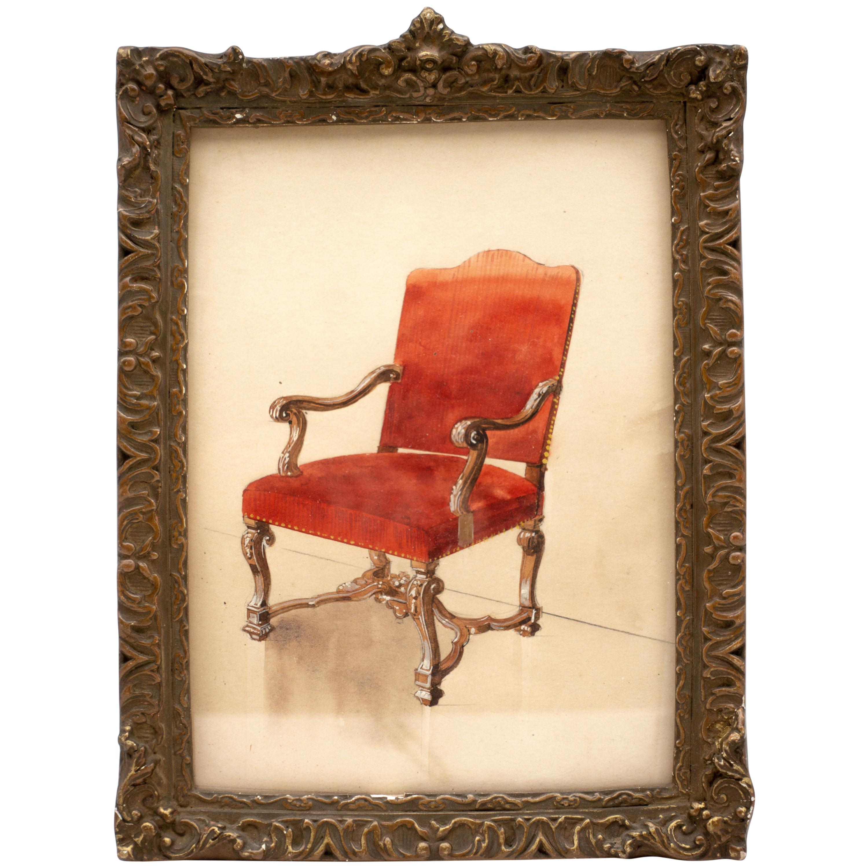 3000x3000 Framed French 19th Century Watercolor Of Louis Xiv Chair For Sale