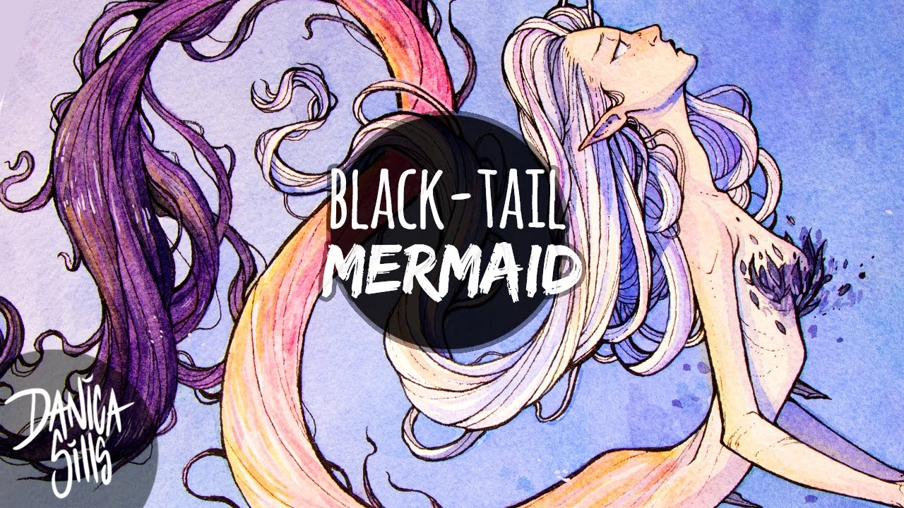 1280x720 Black Tail Mermaid Watercolor Speedpaint Compostition And