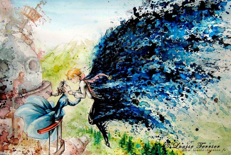 915x614 Studio Ghibli Characters Redrawn In Watercolor Paintings