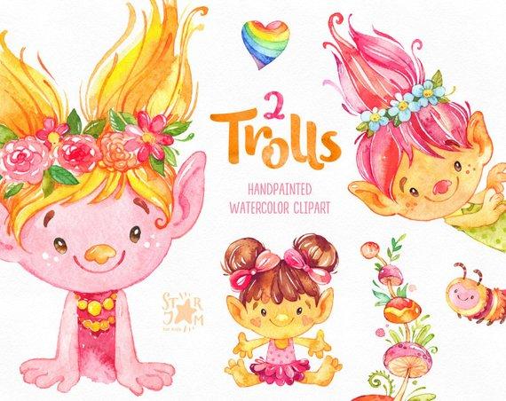570x452 Trolls 2. Watercolor Clip Art Cute Characters Poppy Dolls Etsy