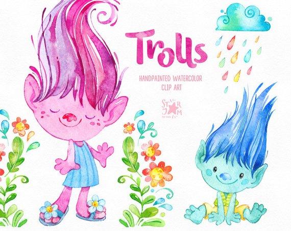 570x452 Trolls. Watercolor Clip Art Cute Characters Poppy Dolls Etsy