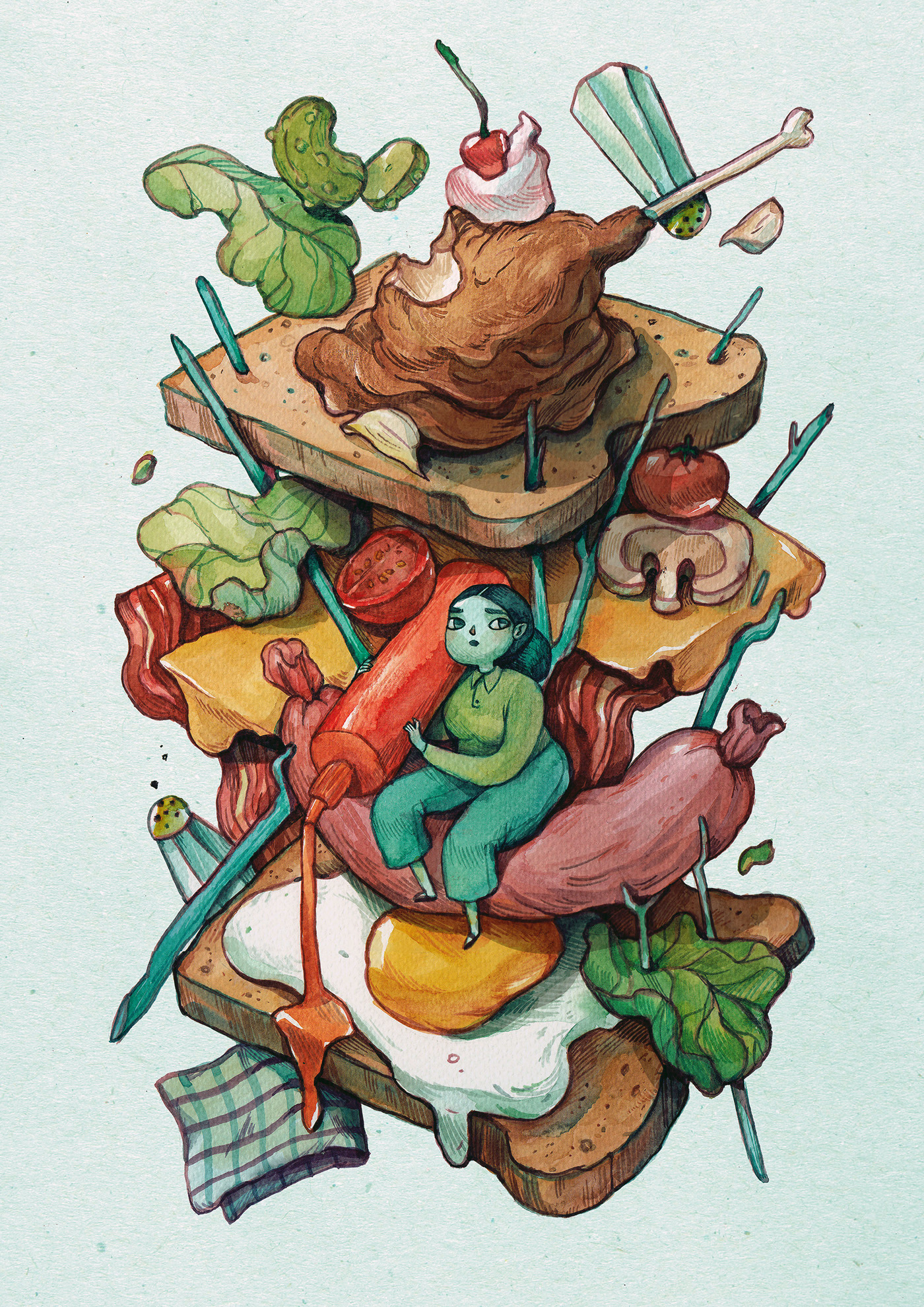 1400x1980 Vibrant Watercolor Paintings Filled With Peculiar Characters And