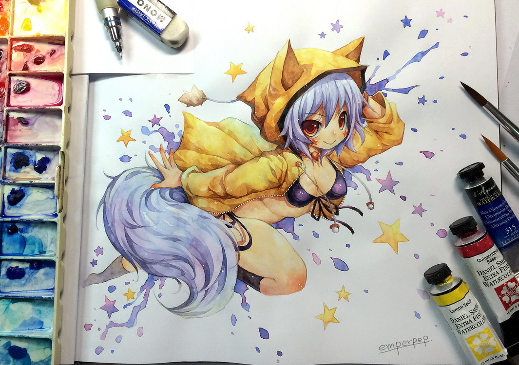 1065x750 Watercolor Kitsuneyin By Emperpep