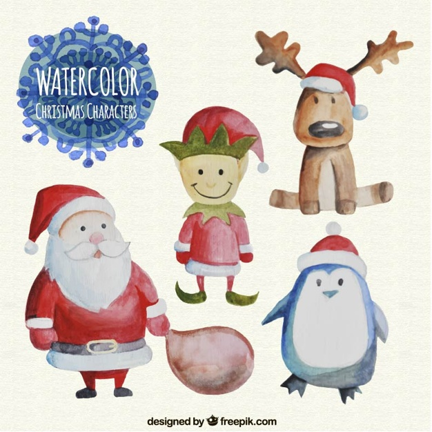 626x626 Watercolor Christmas Characters Set Vector Free Download