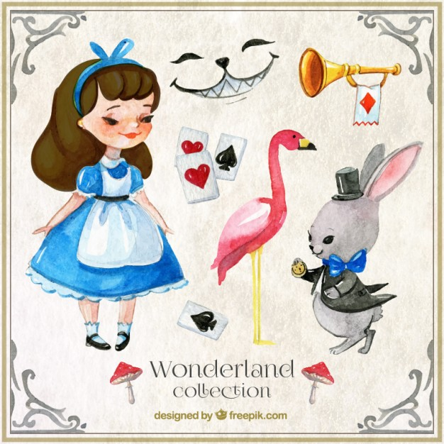 626x626 Watercolor Alice In Wonderland Characters And Elements Vector