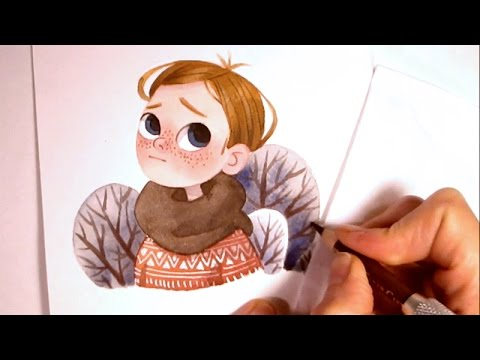 480x360 Character Watercolor Illustration Waiting For Spring (Simple