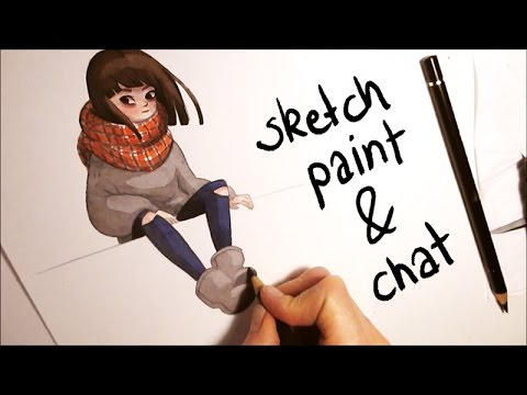 480x360 Watercolor Cozy Girl Character Illustration [Speed Painting