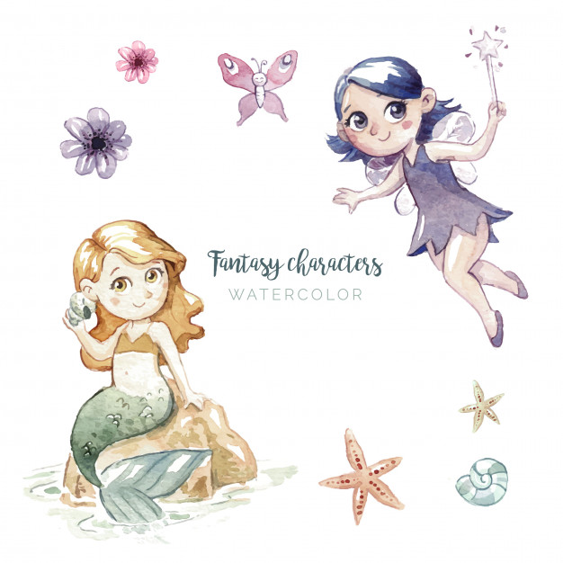 626x626 Watercolor Illustration Of Fantasy Characters Vector Free Download