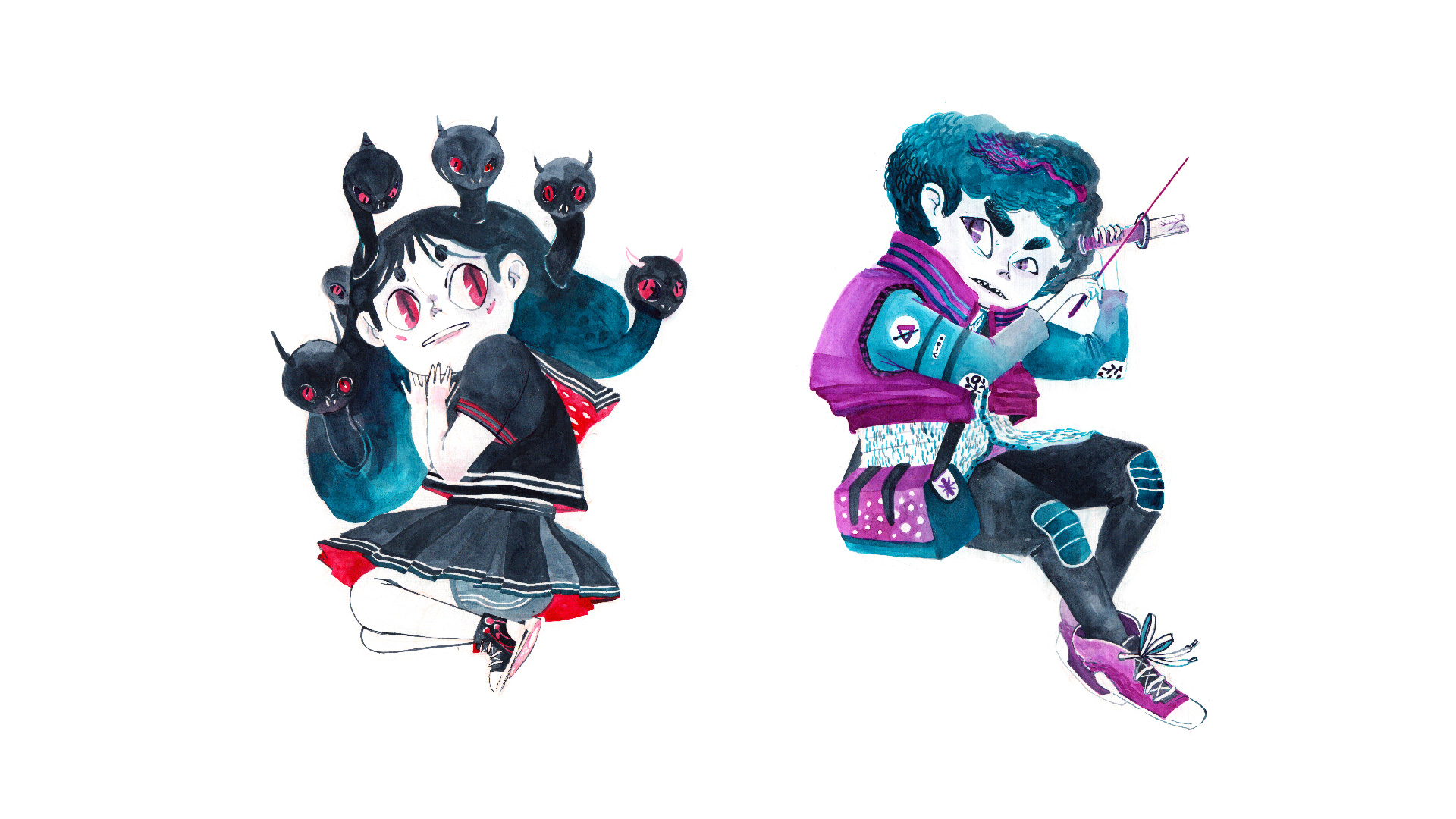 1920x1080 Watercolor Characters