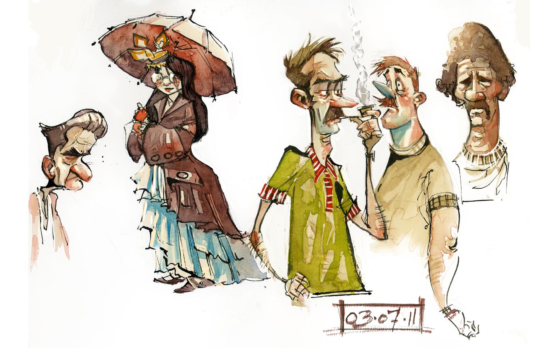 1413x900 David Hohn Illustration Character Sketches