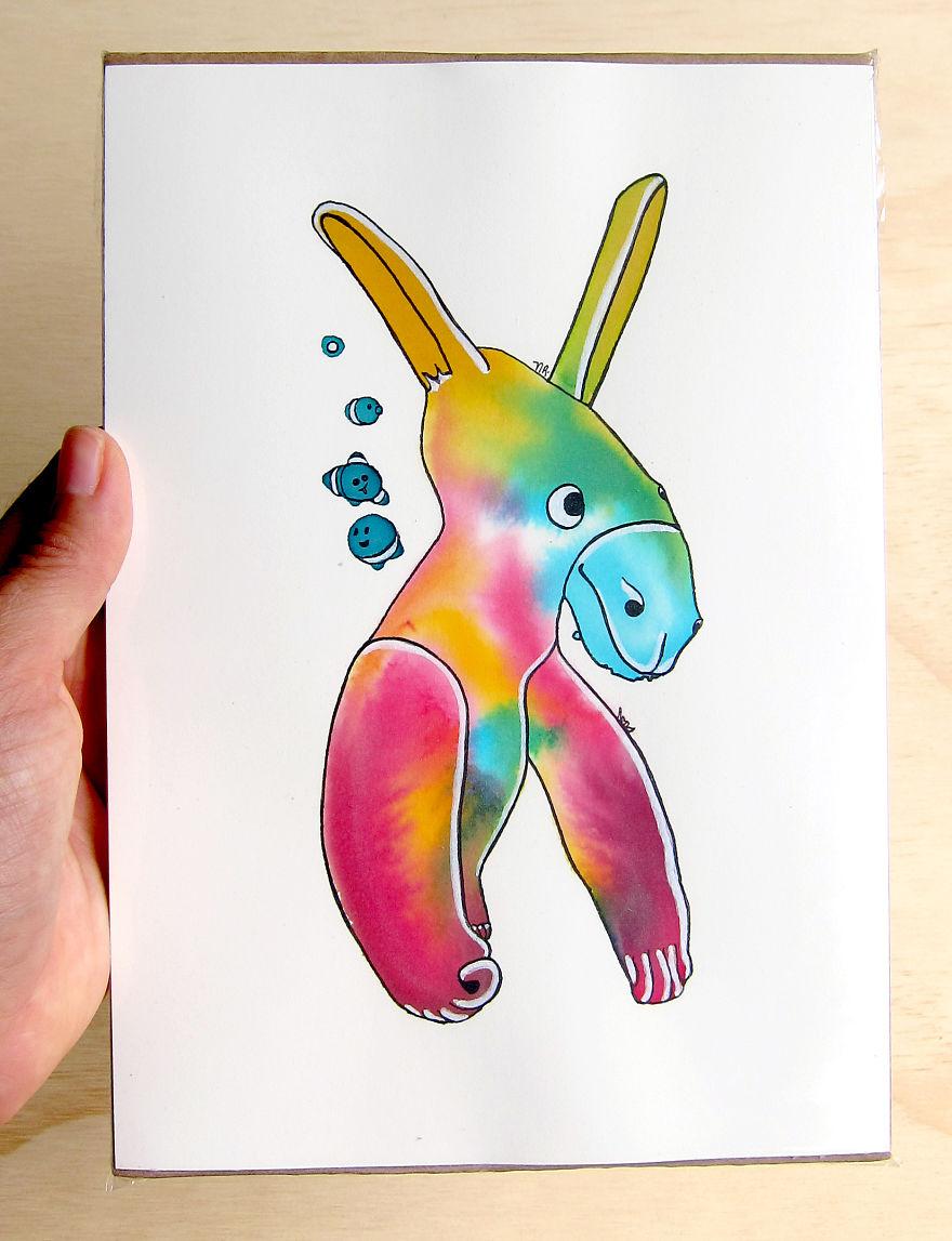 880x1147 Imagino I Turn Watercolor Splashes Into Cute Characters Bored Panda
