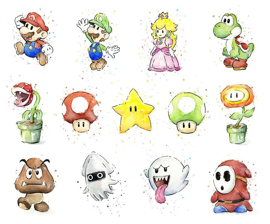 900x747 Mario Characters In Watercolor Painting By Olga Shvartsur