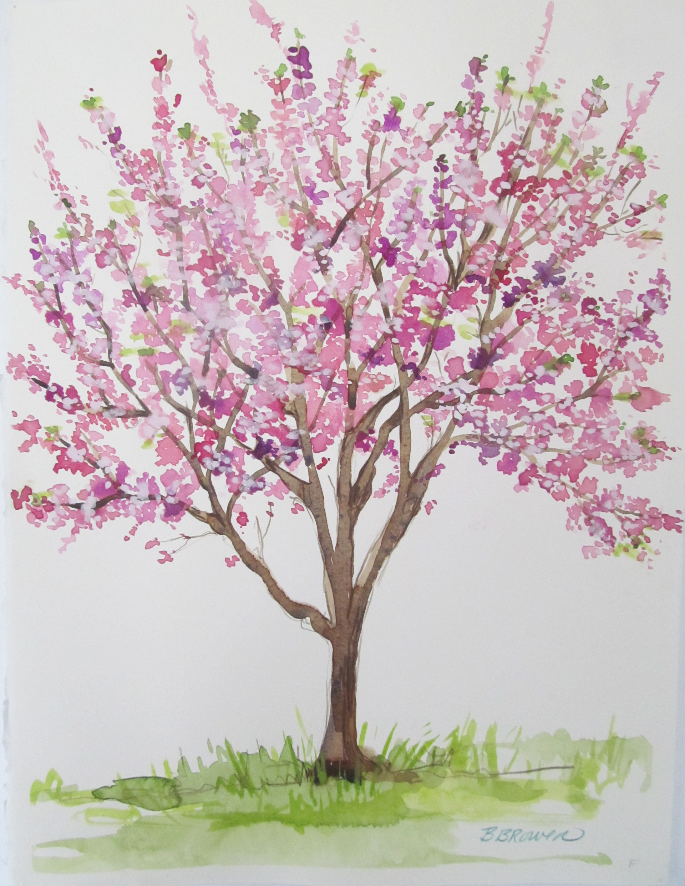 Watercolor Cherry Blossom Painting