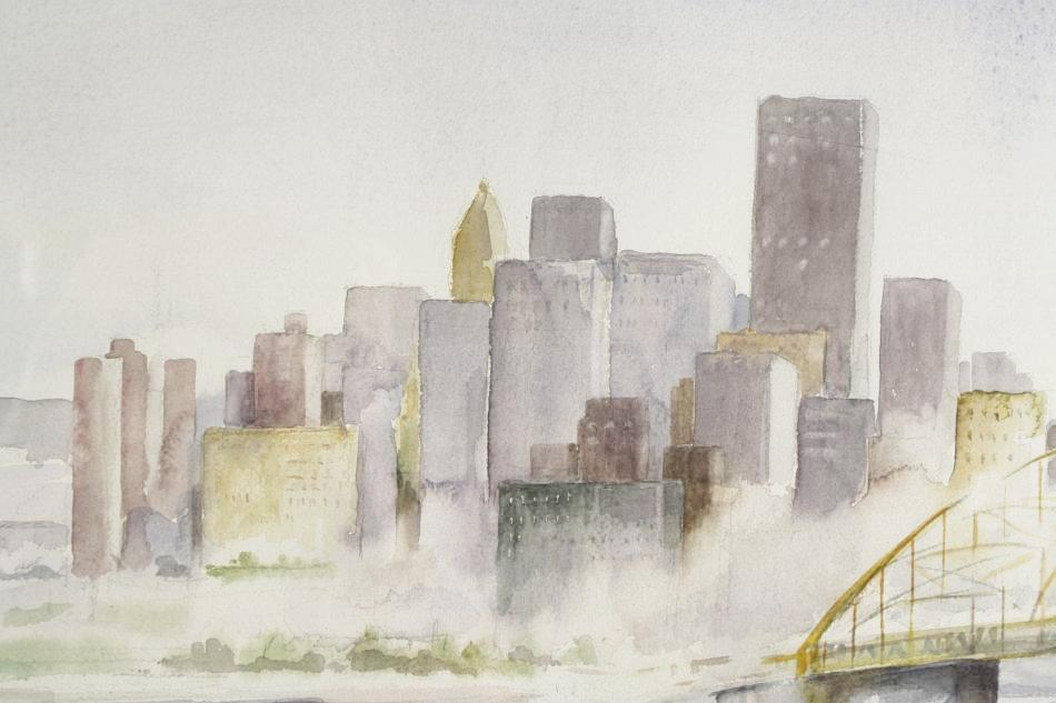 950x633 Rita Nist (American, 20th Century) City Of Pittsburgh, Watercolor,