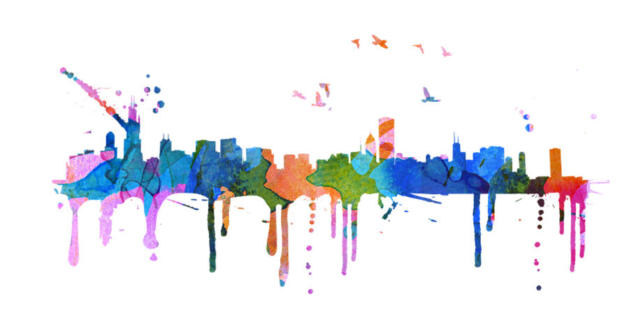 900x457 Chicago Skyline Watercolor City Decal Art Print Moonwallstickers