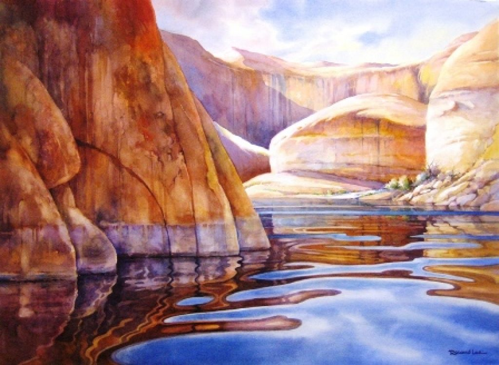 1024x749 How To Paint Texture In Rocks And Cliffs Of Lake Powell Lake