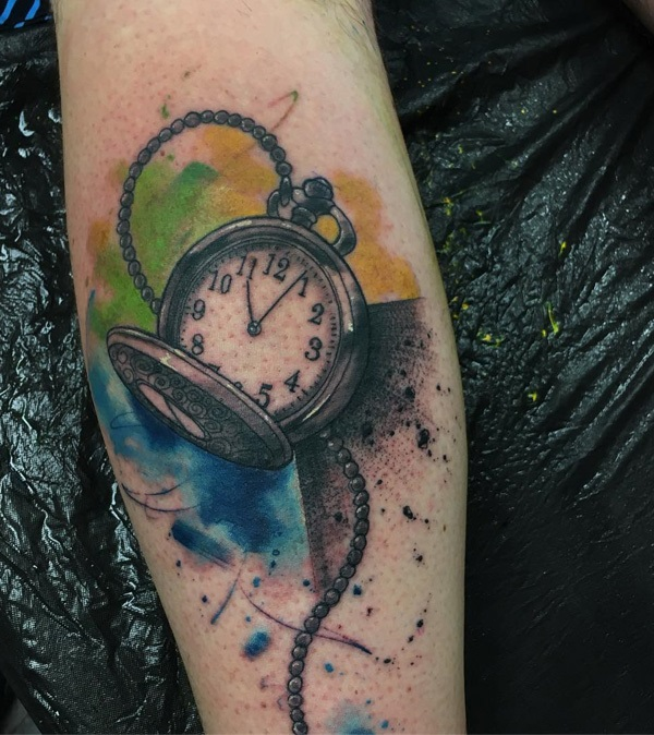 Watercolor Clock Tattoo