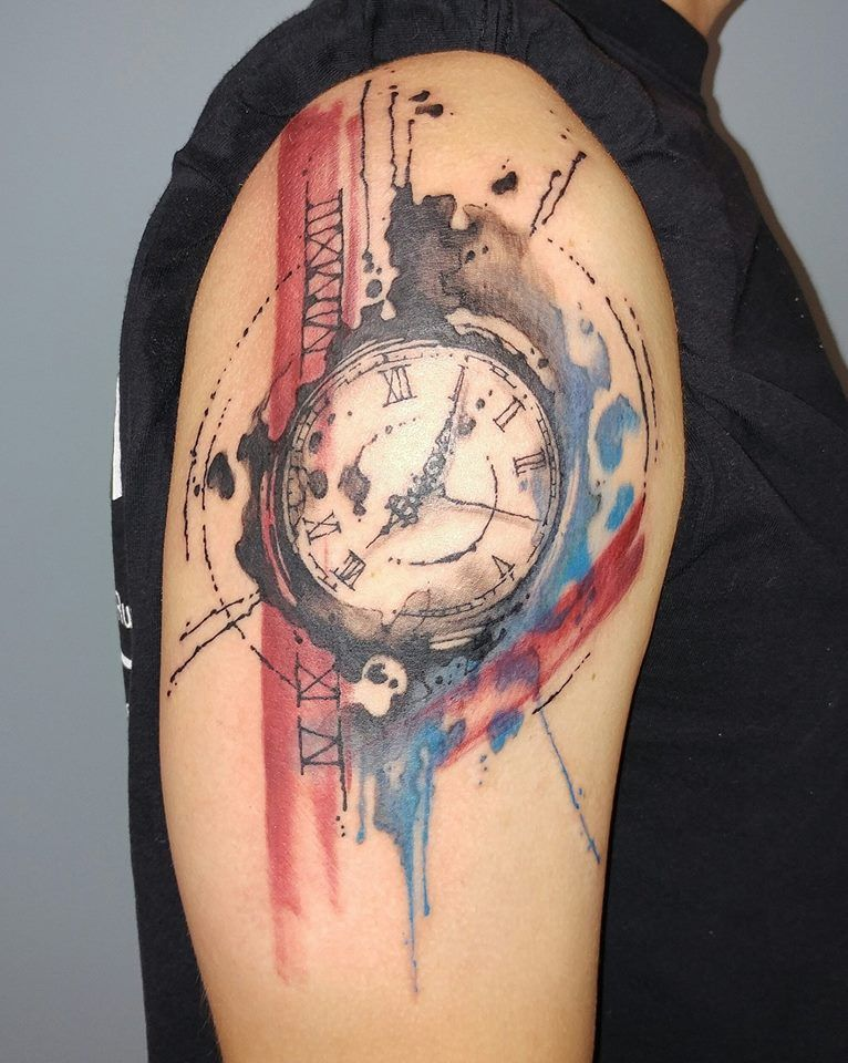 Watercolor Clock Tattoo At Getdrawings Com Free For Personal Use
