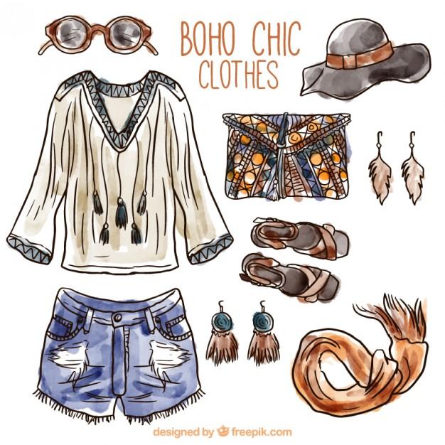 626x626 Watercolor Boho Clothes Vector Premium Download