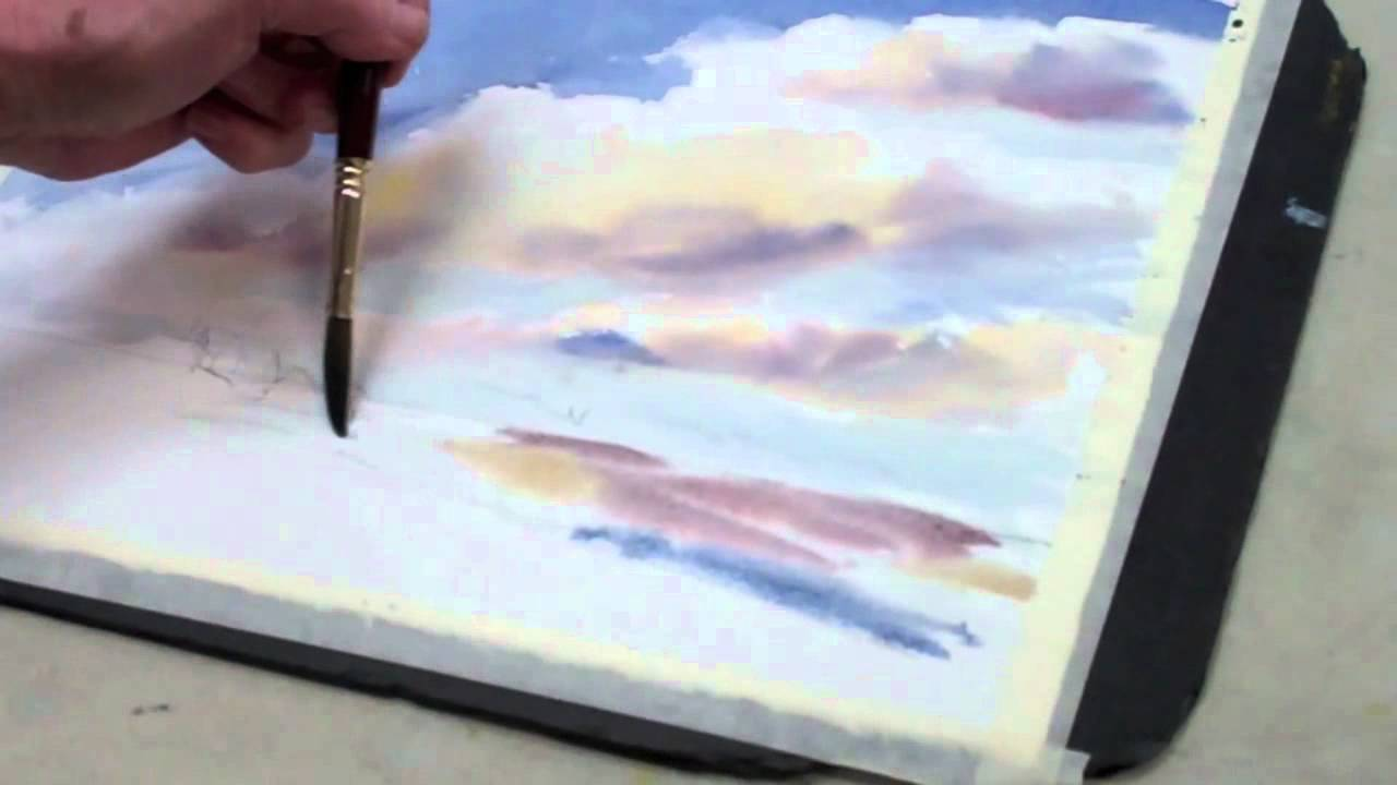 1280x720 How To Paint A Watercolor Sky With Clouds The Art League School