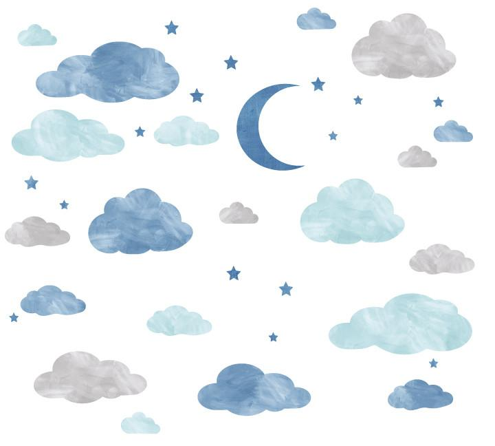 720x648 Cloud, Moon And Stars Watercolor Fabric Wall Decals Eco Wall Decals