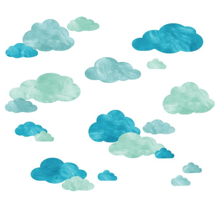720x648 Cloud Watercolor Fabric Wall Decals Eco Wall Decals