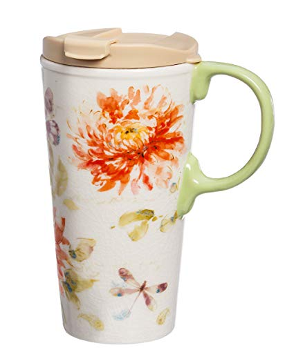 425x523 Cypress Home Watercolor Floral Ceramic Travel Coffee