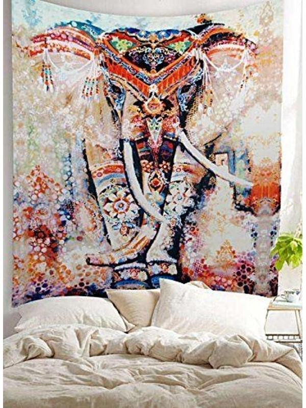 600x800 Tribal Watercolor Collage Boho Elephant Wall Fabric Tapestry