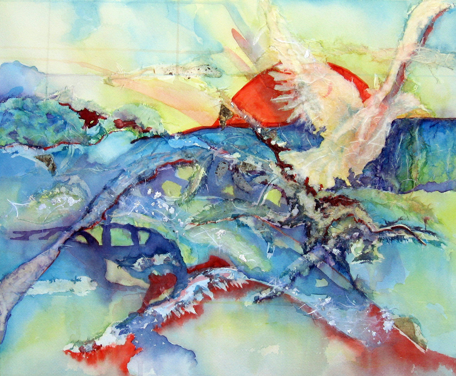 1500x1237 White Dove Watercolor And Rice Paper Collage Leslie White