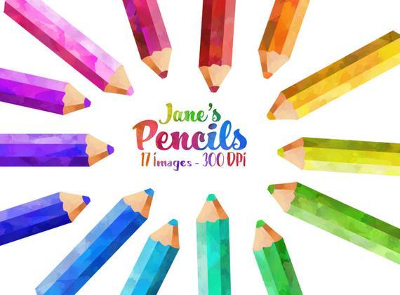 570x420 Watercolor Colored Pencils Clipart School Items Download Etsy