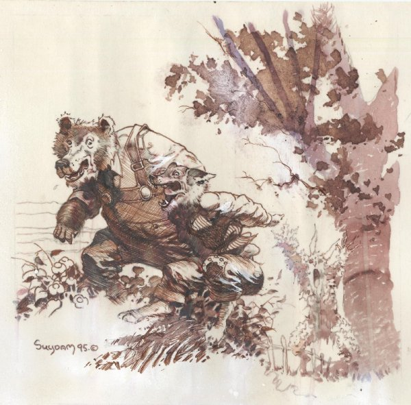 600x591 85 Suydam Brer Rabbit Watercolor Original Comic Art