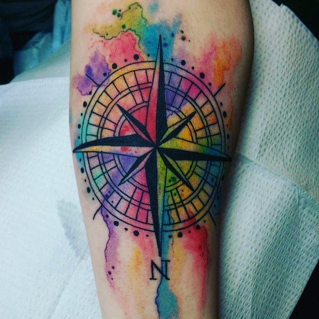 640x640 Bright Watercolor Compass Tattoo Venice Tattoo Art Designs