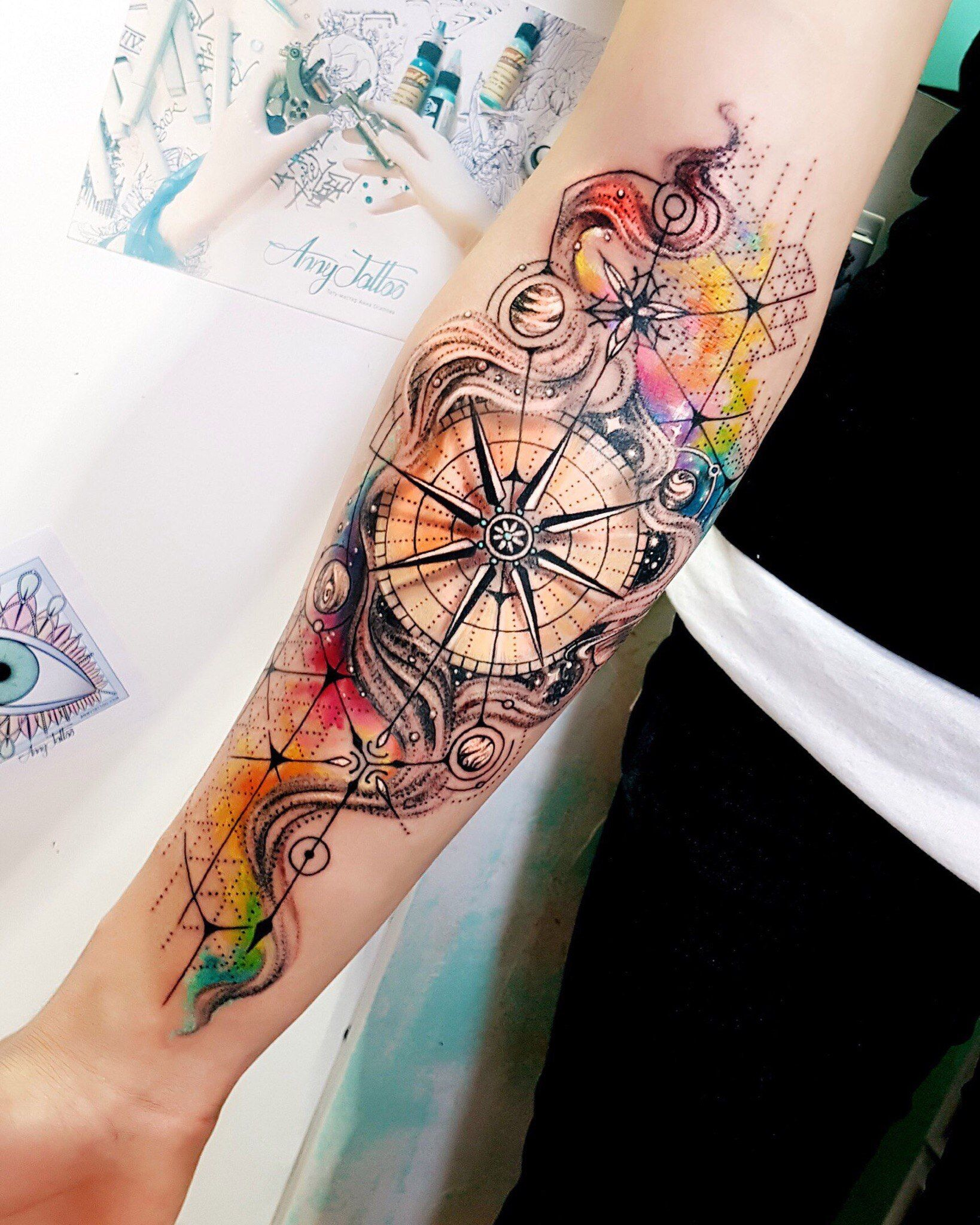 1638x2048 Like The Background But Different Types Of Compass Tattoos