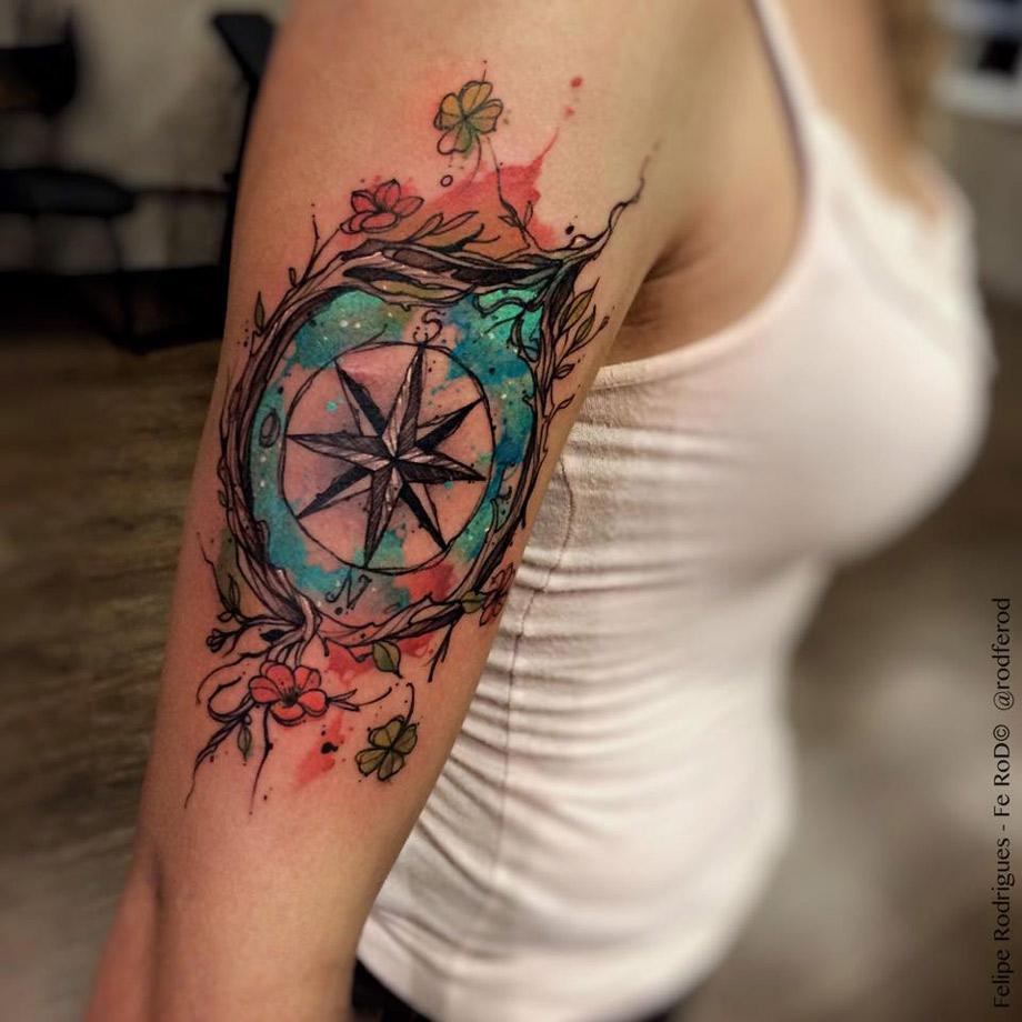 920x920 Watercolor Compass Best Tattoo Design Ideas