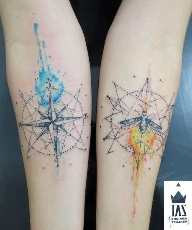 618x738 Watercolor Nautical Compass Tattoos