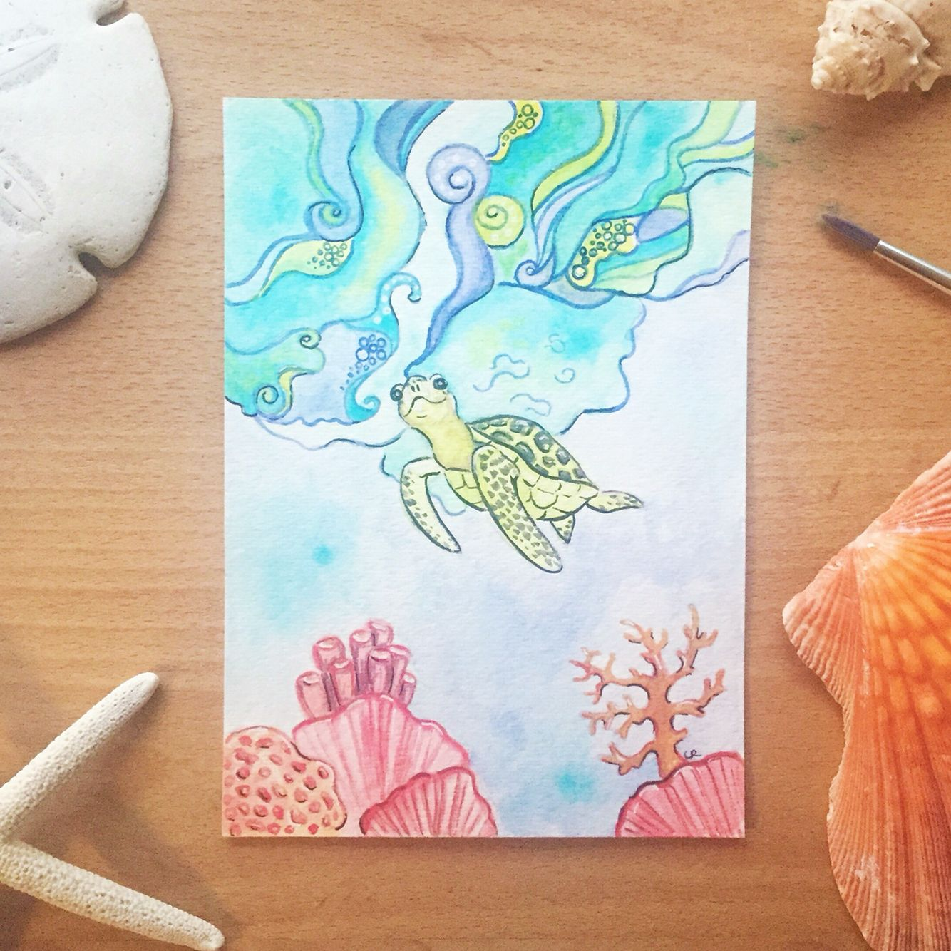 085e9dbc5d45 Watercolor Coral Reef Tattoo at GetDrawings.com | Free for personal ...
