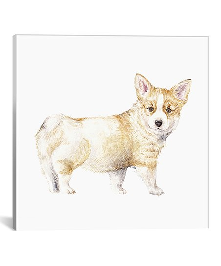 452x543 Wandering Laur Watercolor Corgi Puppy Wrapped Canvas Zulily