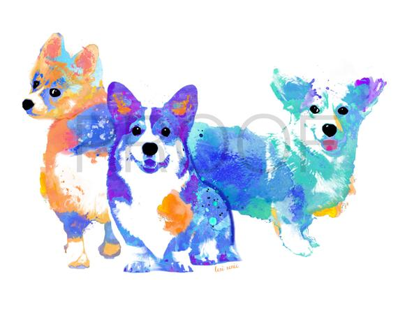 570x448 Corgi Corgi Art Dog Art Watercolor Dog Art Etsy