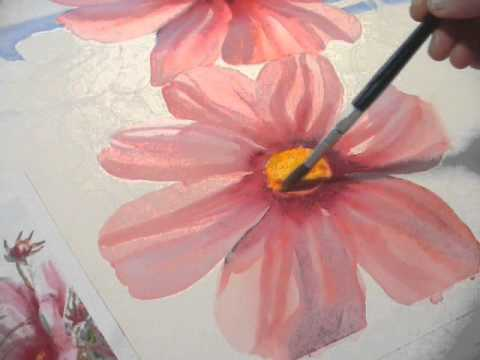 480x360 Cosmos Flowers By The Sea Watercolor Demonstration By Janet Zeh