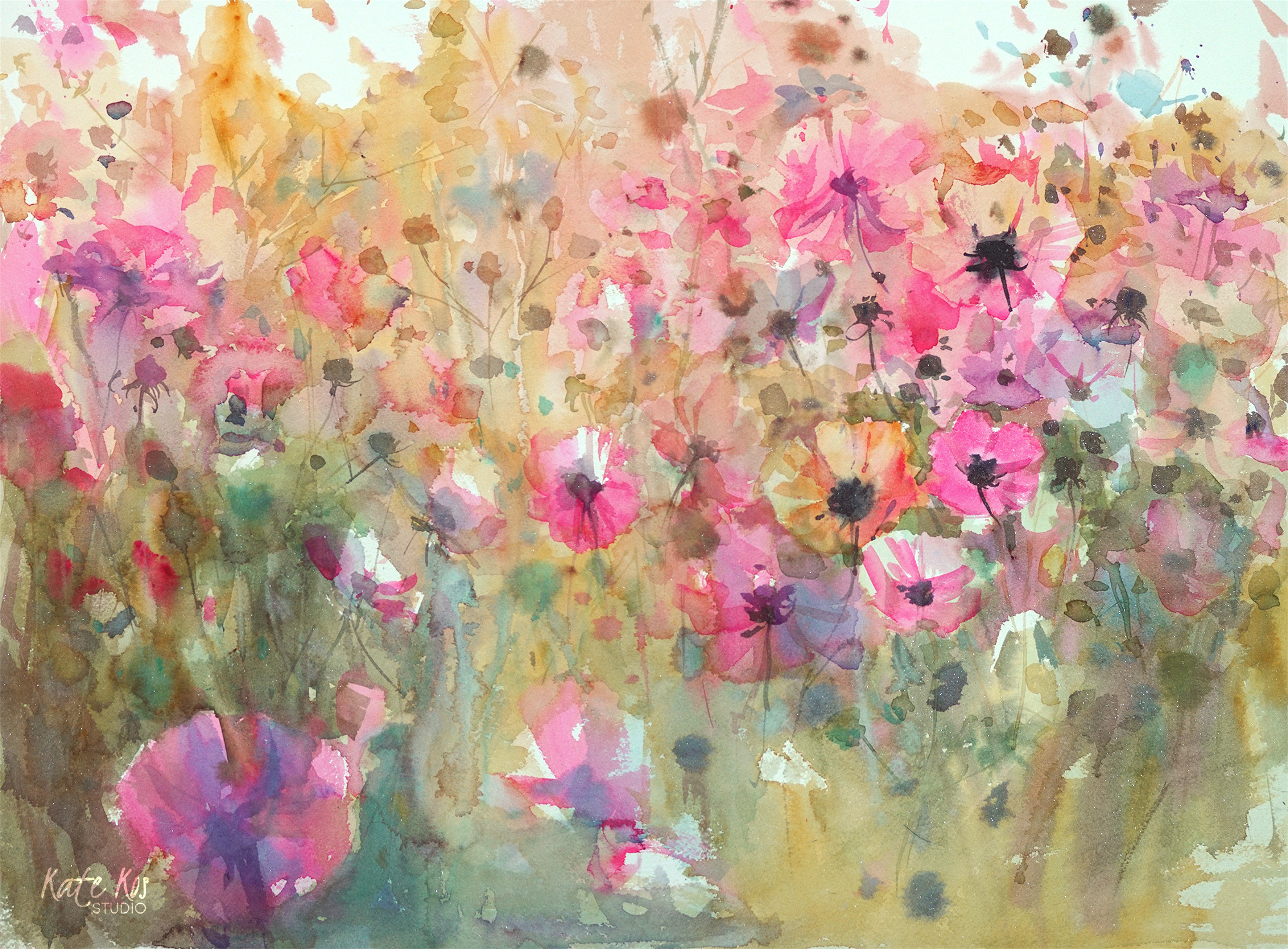 2000x1474 2018 Art Painting Watercolor Floral Cosmos By Kate Kos