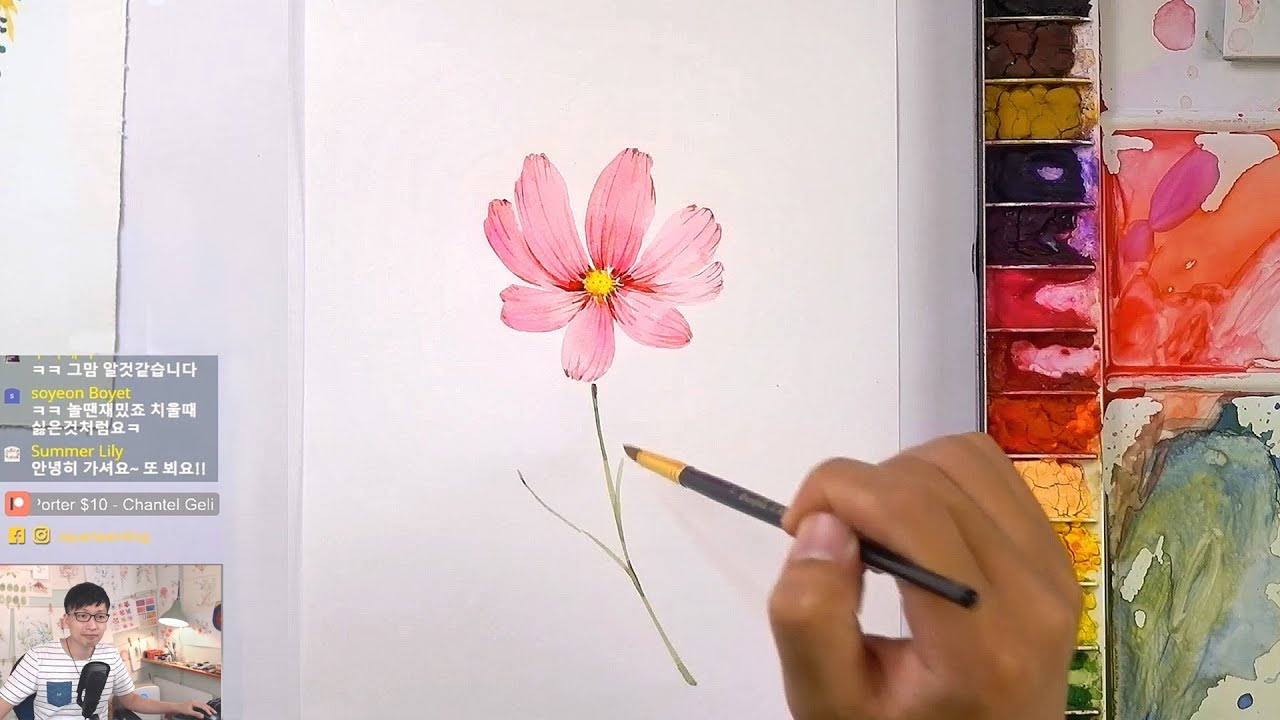 1280x720 How To Paint A Cosmos Flower In Watercolor