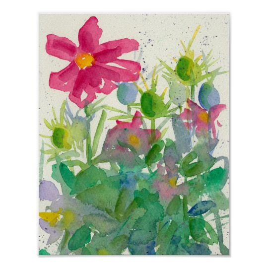 540x540 Pink Cosmos Nigella Watercolor Flower Painting Poster
