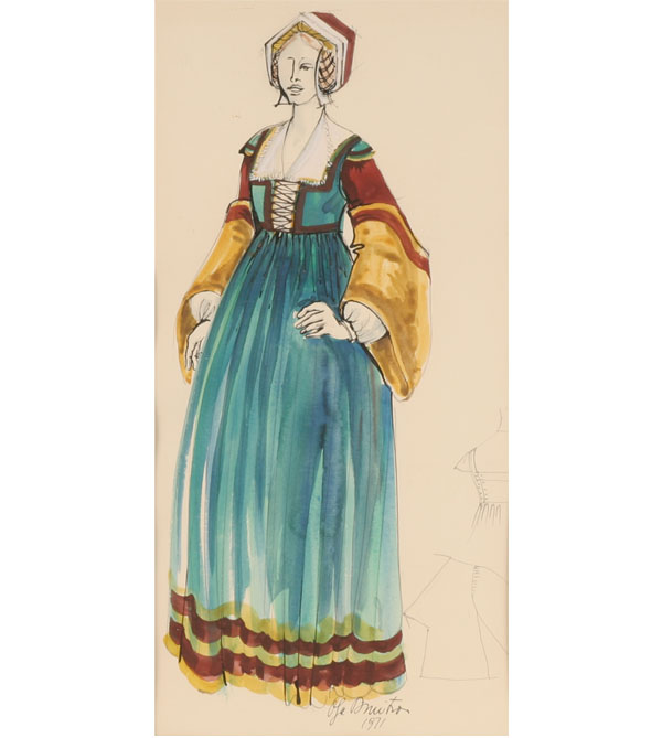 600x669 20th Century) European Costume Design Watercolor And Gouache On