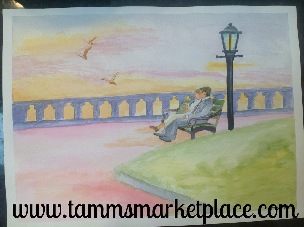 1024x765 Original Watercolor Painting Of A Couple In Love In The Park. 15