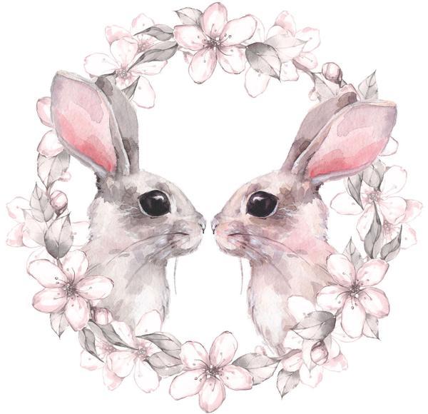 600x580 Adorable Watercolor Bunny Rabbit Couple With Flower Border Vinyl