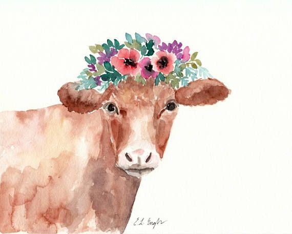 570x456 Watercolor Cow Painting, 8x10, Farmhouse Decor, Brown Cow