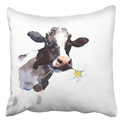 425x425 Emvency Throw Pillow Covers Watercolor Cow A Daisy
