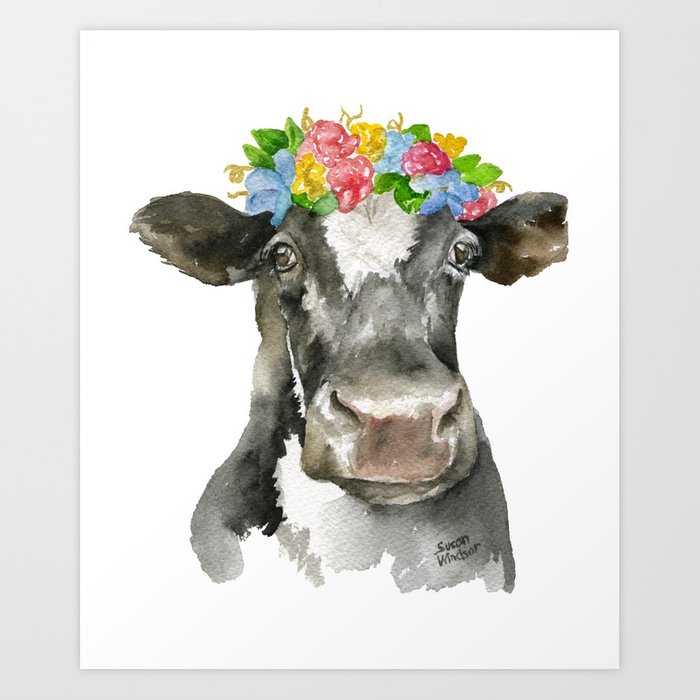 700x700 Black And White Cow With Floral Crown Watercolor Painting Art